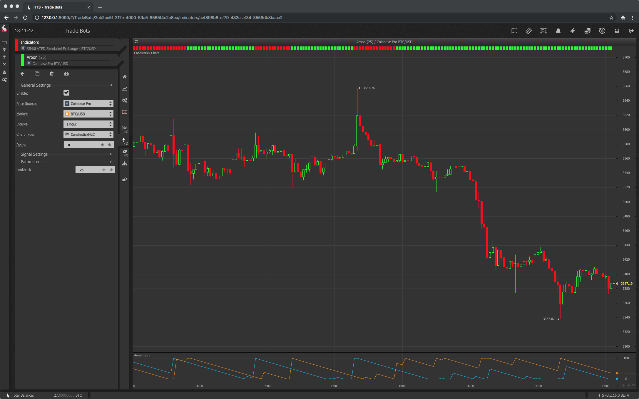 Aroon trade bot technical indicator