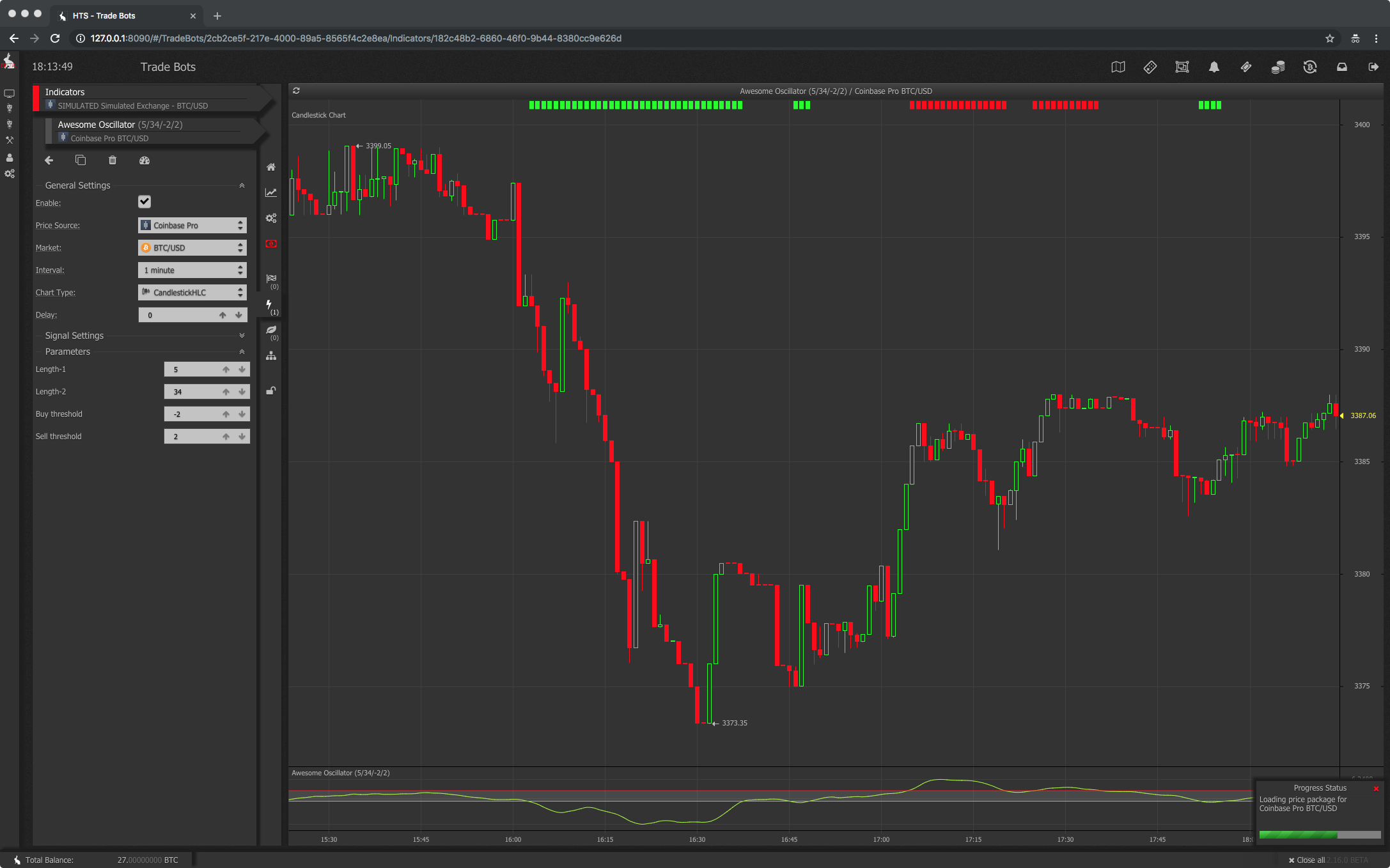 Awesome oscillator trade bot technical indicator